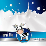 Blue design with cow and milk splash - vector Stock Photo