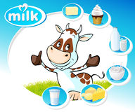 Blue design with dairy products and funny cow - vector Stock Photo