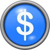 Blue design dollars in round 3D button Royalty Free Stock Photography