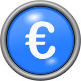 Blue design euros in round 3D button Stock Images