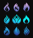 Blue design fire elements on black Stock Image