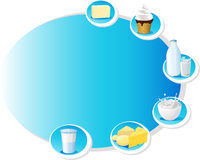 Blue design frame with dairy products - vector Stock Photos