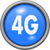 Blue design 4G in round 3D button Stock Image