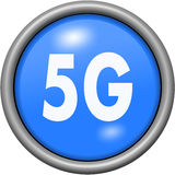 Blue design 5G in round 3D button Royalty Free Stock Image