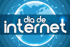 Blue Design with Globe and Network for Spanish Internet Day, Vector Illustration Royalty Free Stock Images
