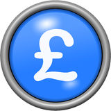 Blue design livre sterling in round 3D button Stock Image