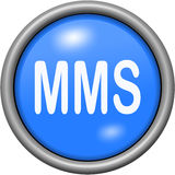 Blue design MMS in round 3D button. Blue design MMS in 3D button Stock Photography