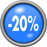 Blue design 20 percent in round 3D button. Blue design 20 percent in 3D button Royalty Free Stock Photos
