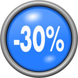 Blue design 30 percent in round 3D button. Blue design 30 percent in 3D button Stock Images