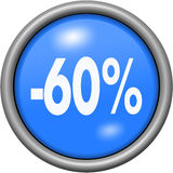 Blue design 60 percent in round 3D button Stock Photos