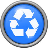 Blue design recycling in round 3D button. Blue design recycling in 3D button Royalty Free Stock Images