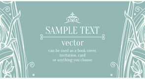 Blue design template with flowers and lace Stock Image