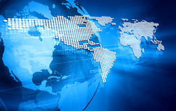 Blue design with the world map Stock Images