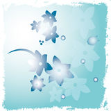 Blue designs of flowers ,lines and dots Stock Photography