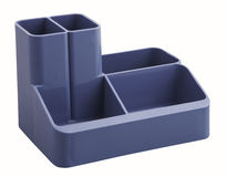 Blue desk organiser. With clipping path Royalty Free Stock Photos
