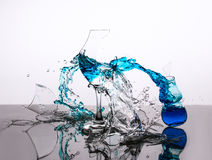 Blue Destruction. Liquid Art Glass Smash with blue water Royalty Free Stock Photo