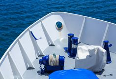 Blue Details in White Hull royalty free stock photo