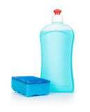Blue detergent and blue sponge on Royalty Free Stock Photo