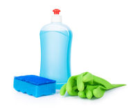 Blue detergent, sponge blue and light green gloves Stock Photos