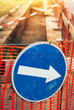 Blue detour sign for roadworks Royalty Free Stock Photos