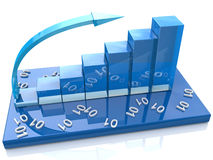 Blue diagram numbers. 3d Blue diagram numbers at registration information related to business and economy Royalty Free Stock Image
