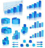 Blue diagrams set. Vector illustration Royalty Free Stock Photography