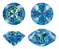 Blue diamond 16 star cut isolated Royalty Free Stock Images