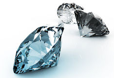 Blue diamond on black Royalty Free Stock Images