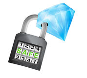 Blue diamond caught in security closed padlock isolated vector Royalty Free Stock Photos