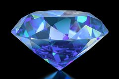 Blue Diamond, 3D rendering. Isolated on black background Stock Photos