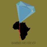 Blue diamond drills bleeding africa vector civil war concept. Blue diamond drills bleeding Africa, concept for civil war and corruption. Vector illustration Stock Photo