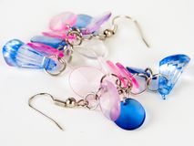 Blue diamond earrings Stock Photography
