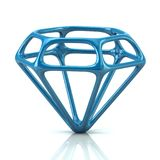 Blue diamond icon 3d illustration Royalty Free Stock Photos