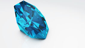 Blue diamond isolated on white background. Concept most precious beauty Royalty Free Stock Photography