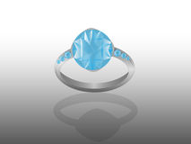 Blue diamond ring. With a mirror Stock Photography