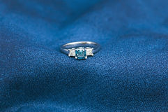 Blue diamond ring Royalty Free Stock Photography