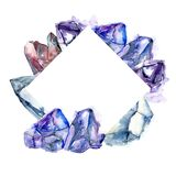 Blue diamond rock jewelry mineral. Frame border ornament square. vector illustration