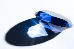 Blue diamond-shape crystal shadow, copy space Royalty Free Stock Image