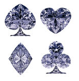 Blue Diamond shaped Card Suits Royalty Free Stock Images