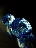 Blue diamonds. Diamonds on black surface Stock Photo