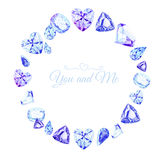 Blue diamonds watercolor round vector design frame Royalty Free Stock Image