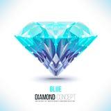 Blue diamondVector shape. Blue diamond.Vector shape of a color blue Brilliant isolated on a black background. Molecular sieves, diamond-shaped, geometric pattern vector illustration