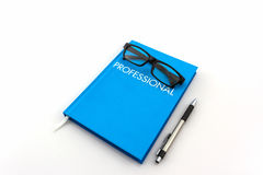 Blue diary book with the word Royalty Free Stock Photography