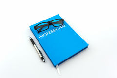 Blue diary book with the word Stock Images