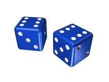 Blue dice. Slue dice (isolated on the white Royalty Free Stock Photography