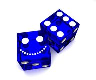 Blue dice. Two dice designating quality-price vector illustration