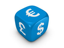 Blue dice with curreny sign Royalty Free Stock Image