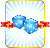 Blue Dice on Ribbon Background Royalty Free Stock Photos