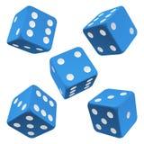 Blue dice set. Vector icon Stock Photos