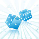 Blue dice with star background Stock Photo